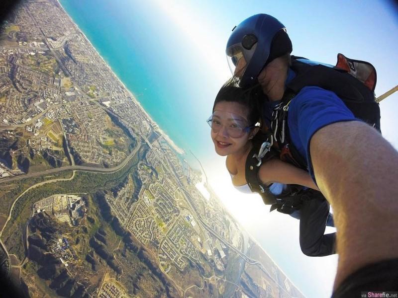 工程师正妹Jin跳伞当空中飞人 霸气外露照吸睛